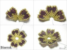 This Pin was discovered by Yüc Seed Bead Flowers, Beaded Flowers, Seed Bead Jewelry, Bead Jewellery, Beading Projects, Beading Tutorials, Peyote Patterns, Beading Patterns, Motifs Perler