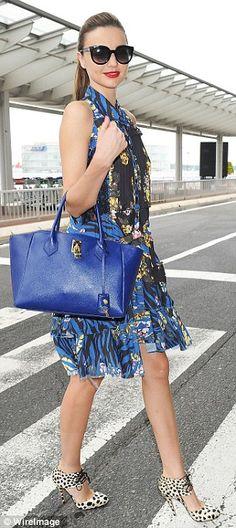 Summer #streetstyle | Miranda Kerr in an Alexander McQueen dress,  Bionda Castana shoes and Samantha Thavasa purse