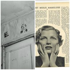 A page from Dutch ladies magazine Libelle. Anne cut out the picture of actress Maria Louise Claudius. During the hiding period she gave it to Peter who pasted it to the wall above the door of his room. Unfortunately, the picture was lost during the restauration in the late 1950's.