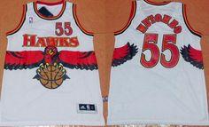 Men s Atlanta Hawks  55 Dikembe Mutombo 1990 White Hardwood Classics Soul  Swingman Throwback Jersey Dikembe 6cb50a357