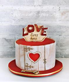 Love lives here! – Cake by Savenko Sugar Art Valentines Cakes And Cupcakes, Valentine Cake, Valentines Food, Gorgeous Cakes, Amazing Cakes, Fondant Cakes, Cupcake Cakes, Just Cakes, Novelty Cakes