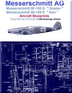 Messerschmitt Bf-109 G K Aircraft Blueprints Engineering Drawings - DVD - Aircraft Reports - Manuals Aircraft Helicopter Engines Propellers Blueprints Publications