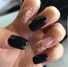 Long square nails with sugar rose gold nail an embedded rose gold nail and black nails