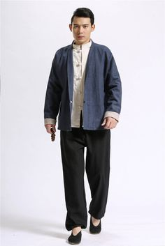 Men Autumn and Winter Linen Hoodies – Retro Chinese Style Linen and Cotton Men's Sweatshirts N36Zg