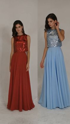 The dress is a sparkly a-line sequin dress. #sequindress #bridesmaiddress Inexpensive Bridesmaid Dresses, Sequin Bridesmaid Dresses, Bridesmaids, Sequin Top, Sequin Dress, Neckline Designs, Bridesmaid Inspiration, Floor Length Dresses, Different Fabrics