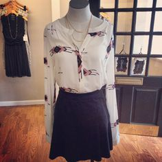 JAX Look of the Day! This BB Dakota button down blouse looks great with our Level 99 stretch suede skirt and would also go with jeans and flats for a more casual look. #jaxboutique #jaxhaddonfield #downtownhaddonfield #bbdakota #level99