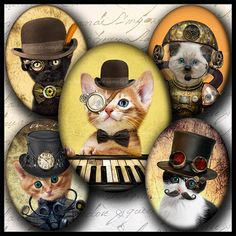 INSTANT DOWNLOAD Steampunk Cat 737 4x6 and by bottlecapmania...THESE CAN ALSO BE USED AS CABOCHONS AND BEAD EMBROIDERY...THEY WOULD BE PRECIOUS WITH A BEZEL FOR A SIMPLE PENDANT, KEYCHAIN, OR REAR VIEW MIRROR ORNAMENT AS WELL.