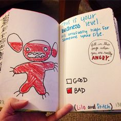 My Wreck This Journal angry page :) Stitch's badness level. Instagram - maddiepage4