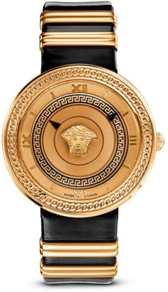 V-Metal Icon Gold from Versace Women& Collection. The energy of Versace Watches is confirmed by the new V-Metal Icon. Unusual and intriguing, it draws its inspiration from a vintage strap buckle, revisited in an innovative interpretation. Versace Jewelry, Luxury Watches, Versace Watches, Van Cleef Arpels, Cartier, Watches For Men, Gold Watches, Prime Watches, Female Watches