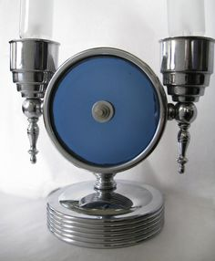 Vintage Art Deco Chrome and Blue Mirror Lamp, metal and glass, 1930's