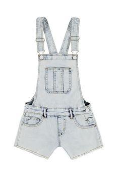 Frayed Denim Overall Shorts (Kids) | Forever 21 girls - 2002247880