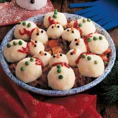 "Snowman Party Stew Recipe from Taste of Home.  ""Youngsters will dig right into this playful potato-topped pie, loaded with ground beef and vegetables. The dashing details are easy to add after baking.""  *If serving small children, remove peppercorns."