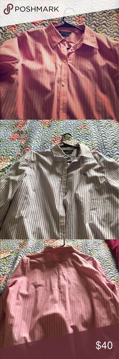 Two non iron shirts nice new condition RLauren You buy two non iron tops long sleeve and size Large but it's looks good on a medium person a lot. My friend wore the pink one and she's a size 10. Nice Ralph Lauren striped tops. Button down top. Clean and unstained and great look out on the town. Ralph Lauren Tops Button Down Shirts