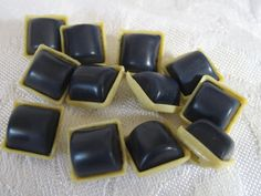 Set of 12 Small VINTAGE Blue Square in French Ivory by abandc, $9.95
