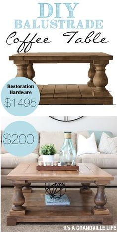 Detailed tutorial on how to make your own DIY Restoration Hardware Balustrade Coffee table for 200 Its A Grandville Life Decor, Diy Furniture, Diy Table, Home Furniture, Diy Coffee Table, Home Decor, Diy Coffee, Diy Furniture Projects, Coffee Table
