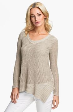 Eileen Fisher Open Stitch V-Neck Top