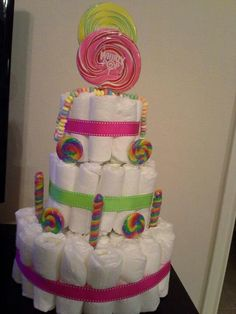 Candy theme diaper cake.