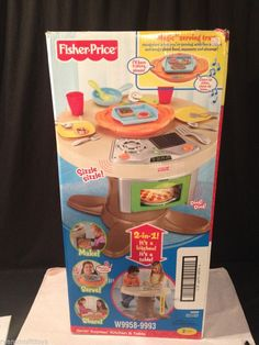 New U0026 Sealed FISHER PRICE SERVIN SURPRISE KITCHEN U0026 TABLE TALKING TABLE W  SOUNDS #FISHERPRICE