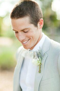 groom in a light suit. Lavender Inspiration