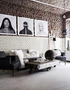 Ladrillo y cerámica en las paredes