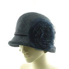 New Cloche Hat for Women 1920's 1930's Fashion Hat in Dark Blue Straw