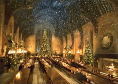 This scene in a Harry Potter movie will be similar to our dining experience with a table to accommodate 100 guests, 50 on each side, sans Christmas trees, but lots and lots of candles. Description from gardenhomeandparty.com. I searched for this on bing.com/images