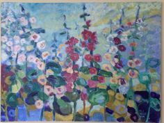 "Hollyhocks. 36"" x 48"" acrylic 1,500 at studio now. Reakelly.com."