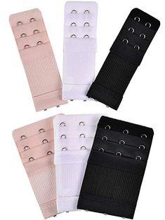 e54af8f786fc4 Bememo 6 Pieces Women s Bra Extenders Elastic Stretchy Bra Extension Strap  3 Colors (3 Rows