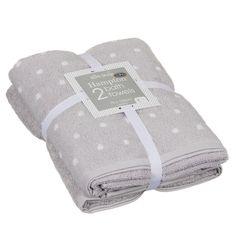 Hampton Spot Bath Towel Bale. 100% cotton. Contains: 1 x polka dot jaquard towel, 1 x plain dyed towel. Dimensions: 50 x 80cm (Approx.) 4 available colours. 10p B&M