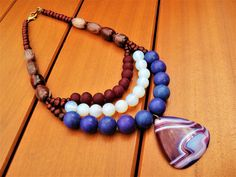Ethnic Bib Semi-Precious Stones Necklace Gemstone Bib African Krobo Beads Stone Bone Necklace Agate Pendant Tribal Bib African Beaded Bib