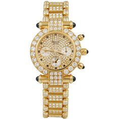 Preowned Chopard Lady's Yellow Gold, Diamond And Sapphire Imperiale... ($95,000) ❤ liked on Polyvore featuring jewelry, watches, yellow, 18k watches, yellow watches, gold chronograph watch, diamond jewelry and gold diamond watches