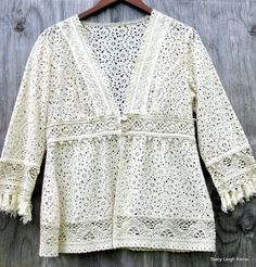 Ivory Lace Jacket with Wide Crocheted Trim by stacyleighatelier, $45.00