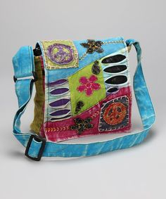 Take a look at this Blue & Lime Peace Flower Messenger Bag by Rising International on #zulily today!