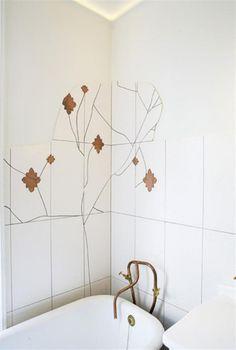 Vintage And Sculptural Bathroom Design With Cooper Pipes All Over It Cozy Bathroom, Bathroom Layout, Bathroom Interior, Bathroom Ideas, Open Plan Bathrooms, Orange Bathrooms, Glass Material, Studio, Wall Tiles