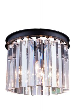 """Sydney Flush Mount D:12"""" H:13"""" Lt:3 Mocha Brown Finish (Royal Cut Crystals). Crystal bars in clear or rich and vibrant hues of gold or silver exploding with prisms layered in circular or rectangular shapes. The Sydney will satisfy your desire to hold the past and embrace the future at the same time.Specifications:   Dimensions 12"""" W x 13"""" H   Finish Mocha Brown    Crystal Trim  Royal Cut    Crystal Color  Crystal (Clear)    Chain/Wire Included  10""""    Light Bulbs  3    Bulb Type  E12    Bulb…"""