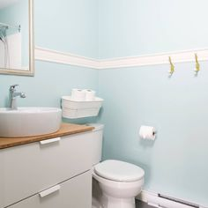 fun and bright bathroom renovation for kids floating vanity, chair ...