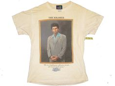 Seinfeld The Kramer T-Shirt Mens Standard Fit Size Medium Eggshell White Pre-Own #AllUActiveWear #GraphicTee