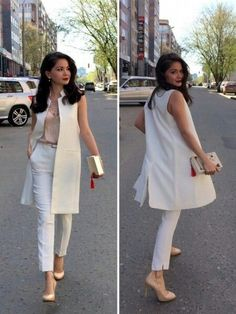 Blazer outfits - Street style for work Sleeveless Blazer Outfit, White Vest Outfit, Long Vest Outfit, Blazer Outfits, Jumpsuit Dress, Classy Outfits, Chic Outfits, Fashion Outfits, Fashion Vest