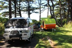 Best camping set up ever. 1992 Mitsubishi Delica and teardrop trailer