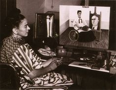 Frida Kahlo painting Self-Portrait with Portrait of Dr. Juan Farill