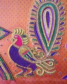 boncuk işleme South Indian Blouse Designs, Kids Blouse Designs, Simple Blouse Designs, Bridal Blouse Designs, Zardosi Embroidery, Embroidery Works, Beaded Embroidery, Peacock Embroidery Designs, Applique Embroidery Designs