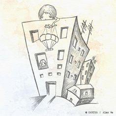 """ilustratie capitol """"Mesaje parasutate"""" - Cartea, de Alex Ve"""
