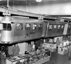 Christmas At John Wanamaker's Philadelphia department store. From 1946 to 1984 this monorail ride went around the whole toy department. Now it is part of Philadelphia's Please Touch Museum. Photo: Temple University Libraries, Urban Archives. See http://www.neh.gov/humanities/2009/mayjune/curio/john-wanamaker-monorail