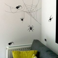 Spiders and cobwebs Halloween decal getitcut.com