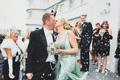 #Bespoke pale green #wedding dress made from over 10m of lavish silk by The State of Grace