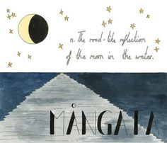 "Untranslatable - Wonderful Foreign Words With No English Equivalent, Illustrated by Ella Frances Sanders. ""Mangata (Swedish): n. The road-like reflection of the moon in the water"" Lost In Translation, Unique Words, Beautiful Words, Beautiful Things, Ocean At Night, Foreign Words, Rare Words, Beauty Quotes, Vocabulary"