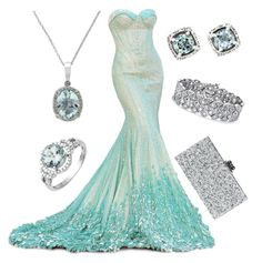 """Aqua and Silver, formal"" by ecapeca ❤ liked on Polyvore featuring Palm Beach Jewelry, Edie Parker, Effy Jewelry and Lord & Taylor"