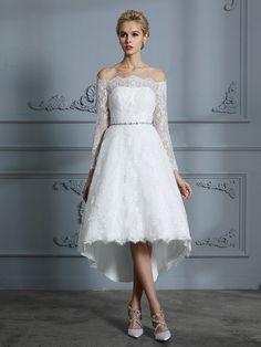ebd2ce64ac6 A-Line Princess Long Sleeves Off-the-Shoulder Asymmetrical Lace Wedding  Dresses