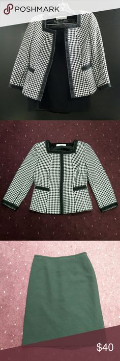 Tahari Checkered Suit Tahari Checkered suit jacket with suit skirt. Size 0 Petite. In good condition. Tahari Other
