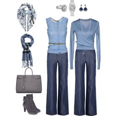 Dusty Blue and Grey Casual - there might be some thing here for me...! (like that wrap top... beautiful boots... drop earrings... color combo...)